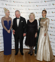 Katy Perry rocked a navy mesh-panel column dress by Stella McCartney at the British Asian Trust reception.