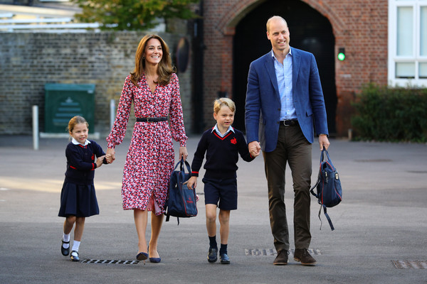 More Pics of Princess Charlotte Knee Length Skirt (3 of 30) - Dresses & Skirts Lookbook - StyleBistro [first day of school,prince george,parents,princess,duchess,princess charlotte,london,cambridge,school,duke]