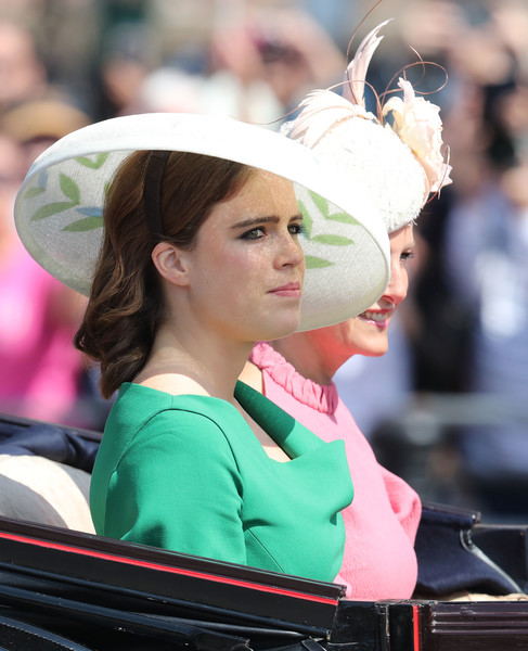 Princess Eugenie Wide Brimmed Hat [eugenie,hm the queen,charles ii,guardsmen,sophie,countess of wessex,cavalry,hair,hairstyle,hat,tradition,headgear,fashion accessory,event,costume,performance,attends trooping the colour,birthday,ceremony]