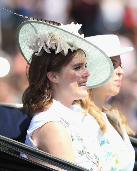 Princess Eugenie Decorative Hat [hat,lady,fashion accessory,headgear,sun hat,headpiece,musician,street performance,york,london,england,trooping the colour,parade,eugenie of york,beatrice]