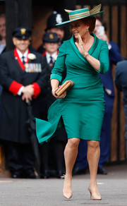 Sarah Ferguson chose a tux-inspired green wrap dress by Emma Louise Design for the wedding of her daughter, Princess Eugenie.