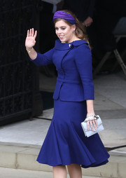 Princess Beatrice donned a Ralph & Russo skirt suit in a gorgeous royal-blue hue for her sister Princess Eugenie's wedding.