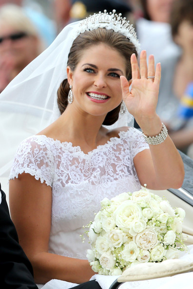 Princess Madeleine Diamond Bracelet [bride,headpiece,gown,hair,hair accessory,dress,lady,clothing,photograph,facial expression,madeleine of sweden,christopher oneill,silvia,horse,carriage,royal palace of stockholm,riddarholmen,sweden,wedding of princess madeleine,wedding]