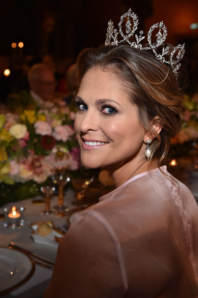 Princess Madeleine Pearl Drop Earrings [hair,headpiece,face,hair accessory,lady,tiara,hairstyle,beauty,head,crown,madeleine of sweden,nobel prize,stockholm,city hall,sweden,nobel prize banquet]