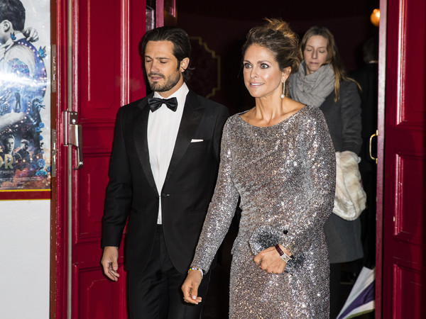 Princess Madeleine Rectangle-faced Watch [event,fashion,dress,suit,carpet,formal wear,premiere,red carpet,flooring,haute couture,royals,madeleine of sweden,carl phillip,connection,swedish,sweden,restaurant,world childhood foundation,20th anniversary,charity dinner]
