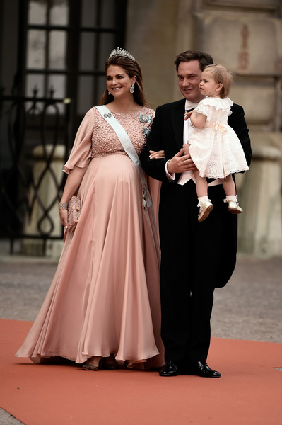 Princess Madeleine Maternity Dress [carl philip of sweden,leonore,arrivals,madeleine,sofia hellqvist,christopher oneill,fashion,dress,gown,lady,pink,shoulder,formal wear,event,haute couture,flooring,wedding,ceremony,wedding,sweden]