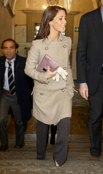 Princess Marie Leather Clutch [badia fiesolana,clothing,suit,fashion,outerwear,shoulder,coat,joint,event,trench coat,footwear,marie of denmark,florence,italy,visit]