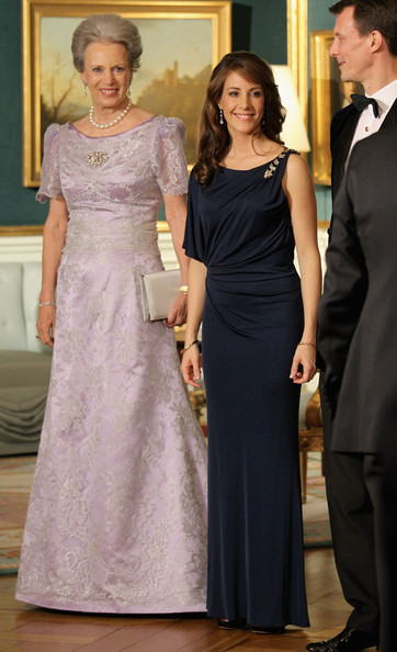 Princess Marie Evening Dress [gown,dress,clothing,bridal party dress,shoulder,formal wear,lady,fashion,haute couture,bride,benedikte of denmark,marie of denmark,charles,part,line,denmark,duchess of cornwall,prince of wales,tour,dinner]