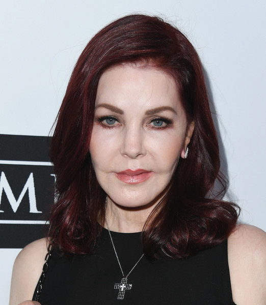 Priscilla Presley Medium Curls [hair,face,hairstyle,eyebrow,lip,chin,beauty,forehead,cheek,brown hair,last chance for animals hosts annual celebrity benefit,beverly hills,california,the beverly hilton hotel,priscilla presley]