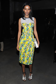 Liya Kebede chose a pair of black-and-white open-toe booties to finish off her ensemble.