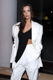 Emily Ratajkowski showed just a bit of abs in a drape-detailed  crop-top by Proenza Schouler during the brand's fashion show.
