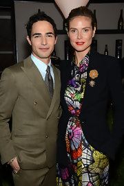 A floral tie brought some pizazz to Zac Posen's tan suit, which he wore to the Project Runway fashion show.