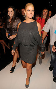 Jessica attended the 'Project Runway' finale as a guest judge wearing a silver off-the-shoulder dress.