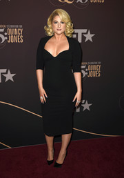 Meghan Trainor was '50s-chic in a sweetheart-neckline LBD, which she paired with bouncy blonde curls, at the Q85: A Musical Celebration for Quincy Jones.