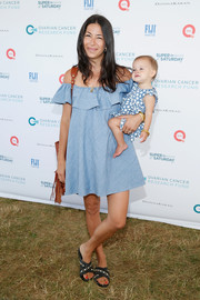 Rebecca Minkoff channeled her inner little girl in an off-the-shoulder ruffle dress during Super Saturday Live.