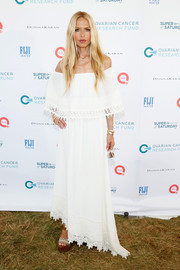 Rachel Zoe was boho princess in a flowy white off-the-shoulder dress during Super Saturday Live.