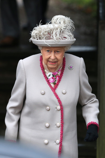 Queen Elizabeth II Decorative Hat [the royal family attend church on christmas day,white,lady,pink,tradition,fashion,suit,headgear,headpiece,outerwear,formal wear,elizabeth ii,service,church of st mary magdalene,estate,england,kings lynn,sandringham,christmas day church]