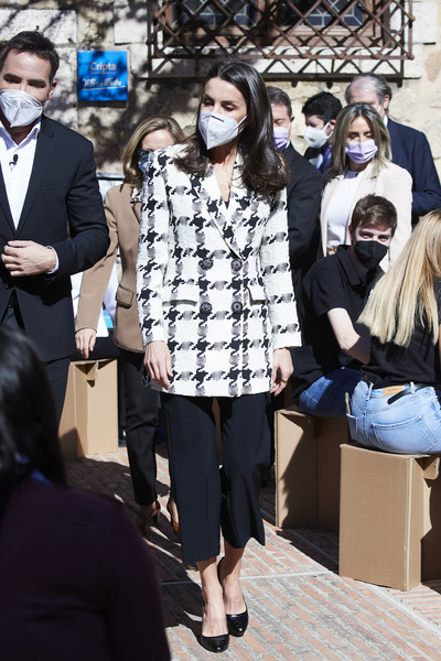 Queen Letizia of Spain was smart in a monochrome houndstooth blazer by Uterque at the proclamation of the winner of the 2021 Princess of Girona Foundation Business Category.