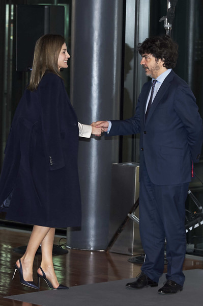 More Pics of Queen Letizia of Spain Knee Length Skirt (1 of 24) - Dresses & Skirts Lookbook - StyleBistro [por un enfoque integral,fashion,suit,interaction,white-collar worker,conversation,event,footwear,gesture,leg,formal wear,queen,letizia,letizia of spain attends forum against cancer,spain,madrid,reina sofia museum,vii cancer forum]