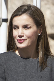 Queen Letizia of Spain sported a simple straight hairstyle while attending a journalism and language seminar.