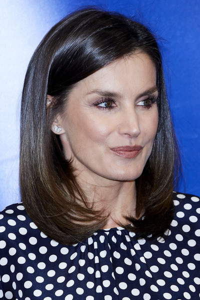 More Pics of Queen Letizia of Spain Pumps (4 of 12) - Heels Lookbook - StyleBistro [letizia of spain attends,event related to mass media and mental health at efe agency headquarters,hair,face,hairstyle,eyebrow,polka dot,chin,forehead,pattern,cheek,lip,letizia of spain,april 03,spain,madrid,medios de comunicacion y salud mental,event in madrid]