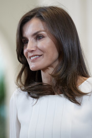 Queen Letizia of Spain looked so beautiful with her loose side-parted style while attending audiences at Zarzuela Palace.