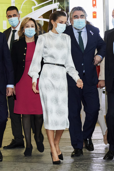 Queen Letizia of Spain kept it classy in a long-sleeve white print dress by Cherubina at the Tourism Innovation Summit 2020.