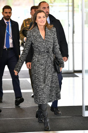 Queen Letizia of Spain arrived for a meeting at the World Health Organization wearing a belted gray tweed coat.