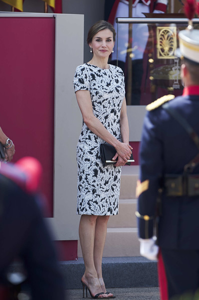 Queen Letizia of Spain Leather Clutch [clothing,fashion,street fashion,red,dress,lady,yellow,footwear,leg,high heels,royals,letizia,spanish,spain,guadalajara,armed forces,armed forces day]