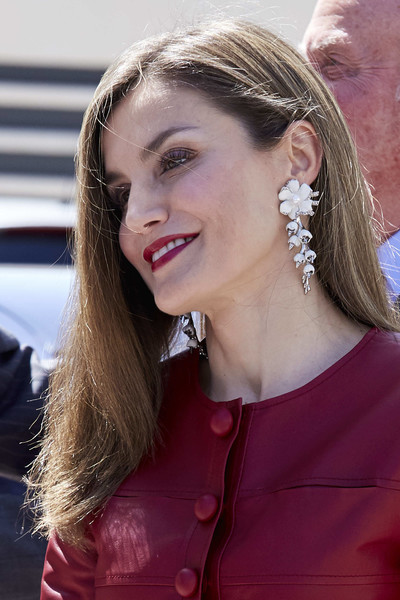 Queen Letizia of Spain Dangle Decorative Earrings [hair,face,hairstyle,ear,beauty,blond,eyebrow,chin,lip,nose,letizia,spain,madrid,reina sofia alzheimer foundation,spanish royals attend 40th anniversary of reina sofia alzheimer foundation,anniversary]