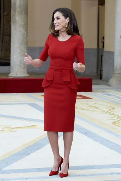 Queen Letizia of Spain Cocktail Dress [clothing,fashion model,red,dress,standing,lady,fashion,leg,formal wear,cocktail dress,letizia of spain,premios nacionales del deporte 2017,national sports awards 2017 at the el pardo palace on january,spain,madrid]
