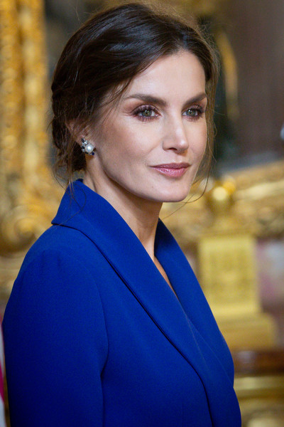 Queen Letizia of Spain Pearl Studs [hair,cobalt blue,face,electric blue,hairstyle,beauty,eyebrow,lady,chin,lip,letizia,spain,madrid,royal palace,new year military,spanish royals celebrate new year,military parade 2020,celebration,parade]