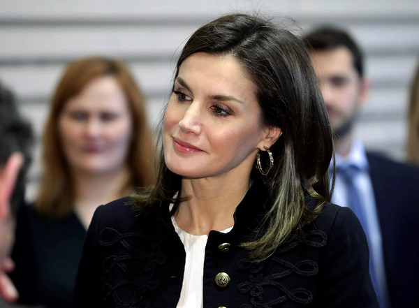 Queen Letizia of Spain Gold Hoops [spain visits the workshops of crafts of the royal theater,hair,face,beauty,fashion,event,smile,businessperson,long hair,white-collar worker,brown hair,letizia,worker,operas,costumes,royal theater,sewing workshop,spain,craft workshops,visit]