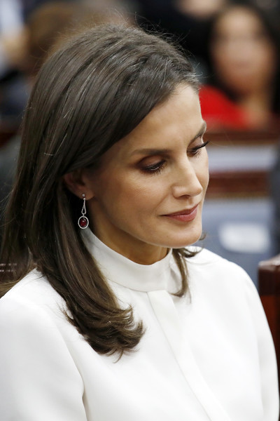 Queen Letizia of Spain Long Side Part [hair,hairstyle,lady,beauty,eyebrow,chin,fashion,black hair,long hair,brown hair,letizia,royals,felipe vi,majesties,spain,south korea,spanish,seoul,city,event]