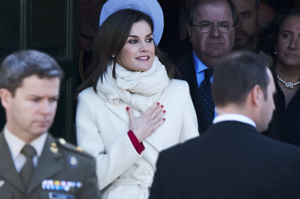 Queen Letizia of Spain Solid Scarf [people,event,uniform,human,official,ceremony,gesture,spanish royals attend the commemoration of capitulations,the commemoration of capitulations,valladolid,spain,miguel delibes cultural center,letizia]