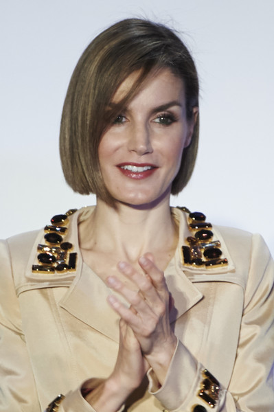 Queen Letizia of Spain Bob [rey de espan,hair,hairstyle,lip,fashion,outerwear,brown hair,photography,bob cut,fashion accessory,makeover,letizia,don quijote,journalism awards,spain,madrid,casa del libro,spanish royals attend journalism awards ceremony]