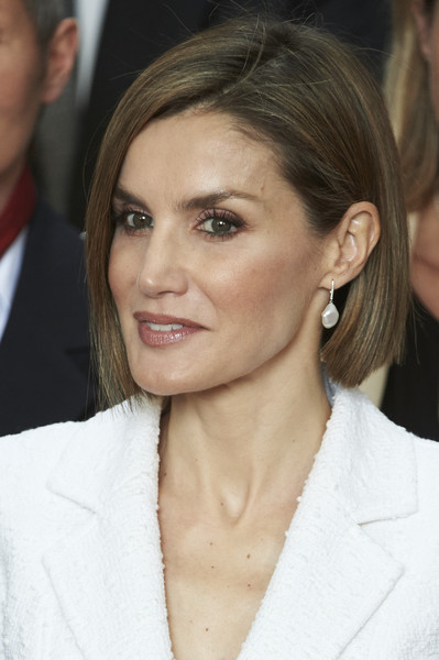 Queen Letizia of Spain Bob [hair,face,hairstyle,eyebrow,blond,chin,lip,nose,forehead,cheek,letizia,miguel delibes,attends,spain,valladolid,auditorium,red cross world day commemoration]