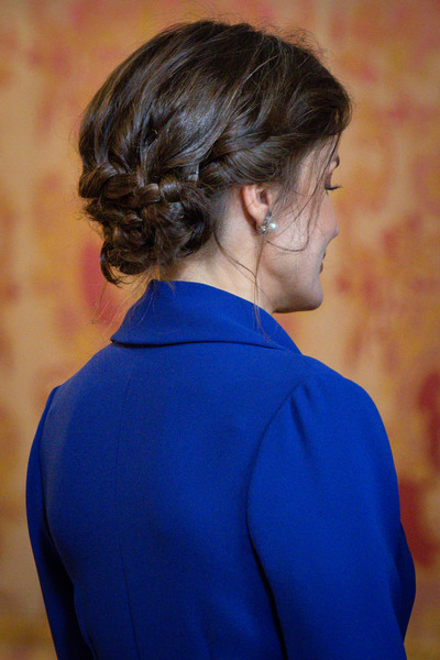 Queen Letizia of Spain Braided Updo [hair,cobalt blue,hairstyle,blue,electric blue,neck,shoulder,chin,chignon,outerwear,letizia,spain,madrid,royal palace,new year military,spanish royals celebrate new year,military parade 2020,celebration,parade,madrid,pascua militar,palace of zarzuela,spanish army,queen regnant,hairstyle,military parade,photograph,palace]