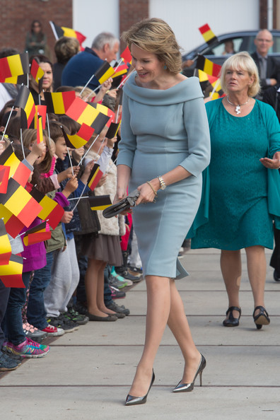 Queen Mathilde of Belgium Cocktail Dress [street fashion,fashion,yellow,lady,leg,daytime,snapshot,dress,hairstyle,blond,philippe of belgium visits the supreme headquarters allied powers europe,mons,belgium,king,mathilde of belgium]