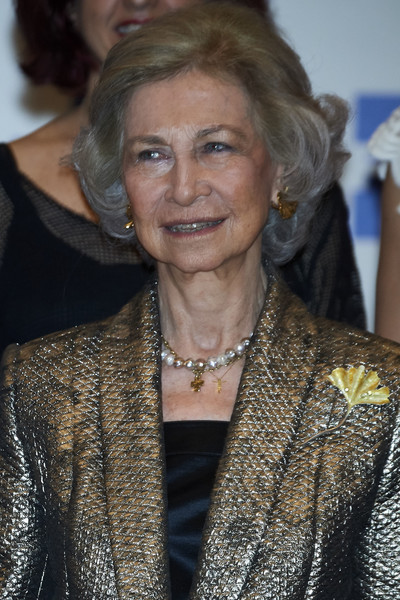 Queen Sofia Bob [hair,lady,hairstyle,blond,outerwear,long hair,fashion design,smile,queen,sofia,foundation excelentia,collaboration,madrid,spain,agency,efe,sofia attends a concert in madrid,concert]