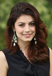 Alessandra Mastronardi styled her thick hair in luxurious waves for the TV show 'Quelli Che Il Calcio.""