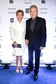 Annette Bening donned a crisp white shirtdress for the 'Film Stars Don't Die in Liverpool' cocktail party.