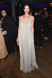 Caitriona Balfe looked divine in a pale gray empire gown by Paris Georgia at the 'Ford v Ferrari' cocktail party.