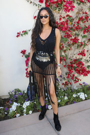 Shay Mitchell was summer-sexy in a see-through black crochet dress during #REVOLVEfestival.