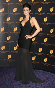 Kym Marsh rocked this unique blend of a little black dress and long evening gown.