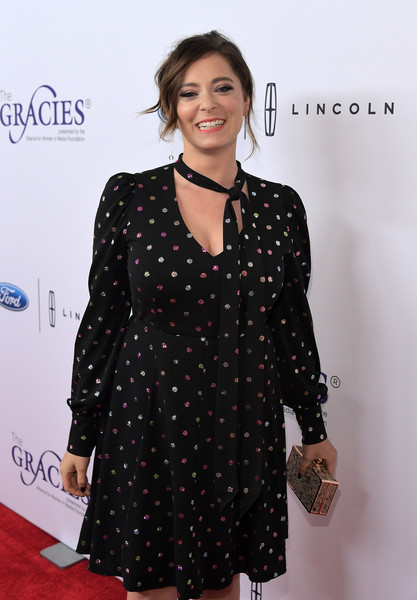 Rachel Bloom Box Clutch [red carpet,clothing,dress,hairstyle,polka dot,pattern,outerwear,design,premiere,sleeve,carpet,rachel bloom,beverly hills,california,beverly wilshire hotel,annual gracie awards]