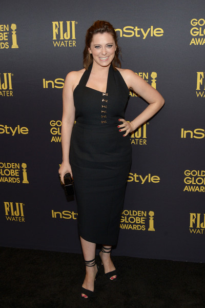 Rachel Bloom Strappy Sandals [dress,clothing,little black dress,cocktail dress,premiere,carpet,shoulder,fashion,strapless dress,red carpet,rachel bloom,golden globe award,catch la,west hollywood,california,hollywood foreign press association and instyle celebrate,instyle]