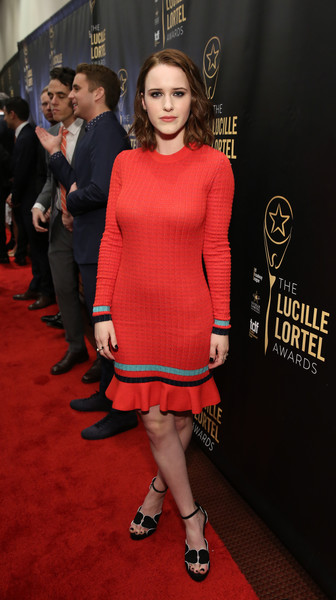 Rachel Brosnahan Sweater Dress [fashion model,clothing,dress,cocktail dress,carpet,shoulder,fashion,red,red carpet,hairstyle,arrivals,rachel brosnahan,nyu skirball center,new york city,lucille lortel awards]