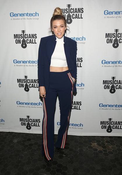 Rachel Platten Pantsuit [suit,clothing,pantsuit,formal wear,fashion,tuxedo,outerwear,blazer,carpet,footwear,rachel platten,the healing power of music,los angeles,california,musicians on call celebrates 5th anniversary,musicians on call 5th anniversary celebration]