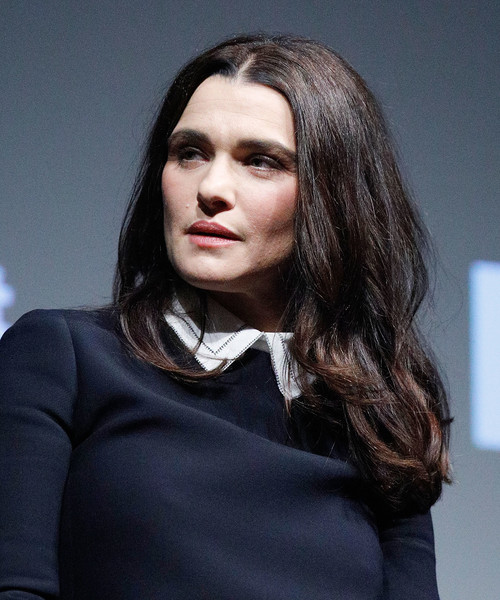 Rachel Weisz Long Center Part [the favourite,hair,face,hairstyle,fashion,beauty,lip,eyebrow,fashion model,chin,long hair,rachel weisz,stage,new york city,moma titus one,moma,contenders screening of the favourite,contenders,screening]